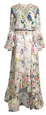Camilla Women's La Fleur Libertine Blouson-Sleeve Silk Wrap Maxi Dress