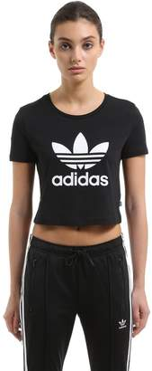 adidas Slim Fit Cropped Cotton Jersey T-Shirt