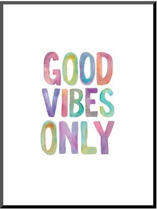 "Art.com Good Vibes Only"" Watercolor Mounted Wall Art Print"