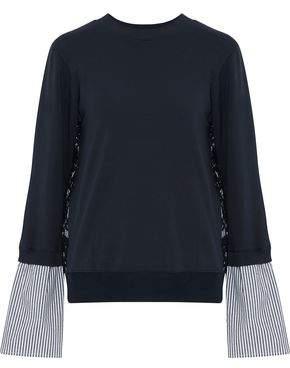 Clu Paneled Corded Lace Striped Poplin And Jersey Sweatshirt