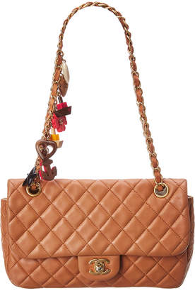 Chanel Limited Edition Brown Quilted Lambskin Leather Medium Valentine Flap Bag