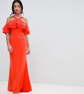 Jarlo Petite Oversized Ruffle Front Maxi Dress