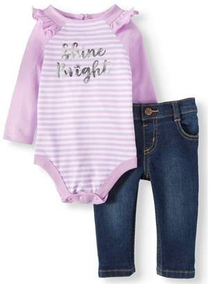 Garanimals Raglan Bodysuit & Skinny Jeans, 2pc Outfit Set (Baby Girls)