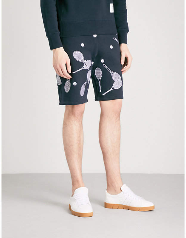 Racket and ball-embroidered cotton-jersey shorts