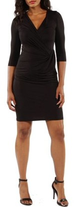 24/7 Comfort Apparel Women's 3/4 Sleeve Wrap Dress