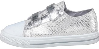 Board Angels Girls Metallic Snake Effect Velcro Pumps White