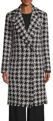 Joie Houndstooth Frayed Hem Coat