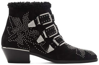 Chloé Black and Silver Suede Susanna Boots