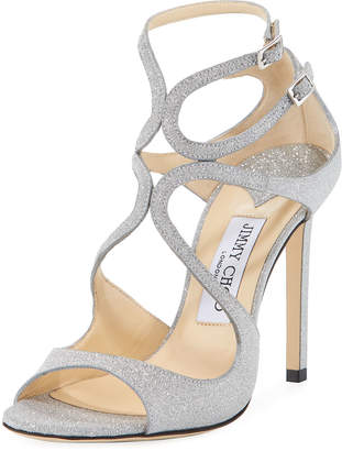 Jimmy Choo Lang 100mm Fine Glittered Leather Sandal