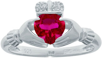 FINE JEWELRY Heart-Shaped Lab-Created Ruby and Diamond-Accent Sterling Silver Claddagh Ring $145.81 thestylecure.com