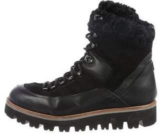Moncler Fur-Trimmed Hiking Boots
