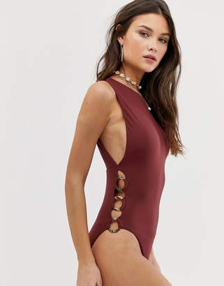Seafolly Active ring side high neck swimsuit in plum