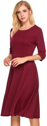 HOTOUCH Women's Casual Slim Fit Casual Cocktail High Waist party dress With 3/4 Sleeve L