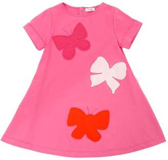 Il Gufo Butterfly Patch Cotton Jersey Dress