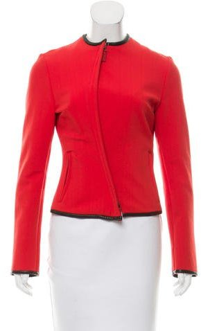Gucci Leather-Trimmed Zip-Up Jacket