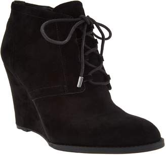 Franco Sarto Suede Lace-up Wedge Ankle Boots - Lennon