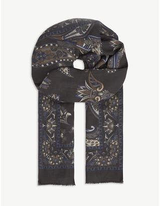 Eton Patterned wool scarf