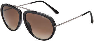 Tom Ford TF452 Stacy Black & Silver-Tone Aviator Sunglasses