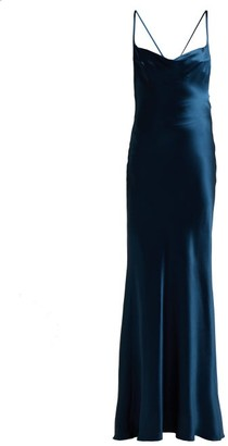 Galvan - Whiteley Silk Satin Gown - Womens - Mid Blue