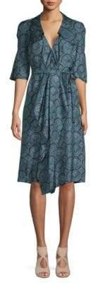 Burberry Printed Silk Wrap Dress