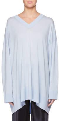 The Row Sabrinah V-Neck Long-Sleeve Wool Tunic Top