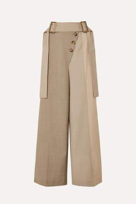 REJINA PYO Stevie Belted Color-block Wool-blend Wide-leg Pants - Neutral