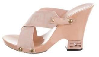 Fendi Zucca Crossover Sandals Pink Zucca Crossover Sandals