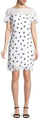 Short-Sleeve Polka Dot Shift Dress