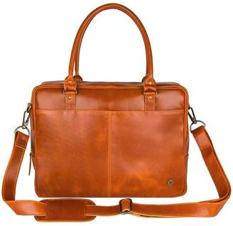 MAHI Leather Leather Oxford Zip-Up Satchel Briefcase Bag In Tan