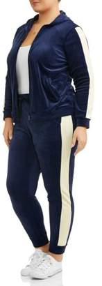 ONLINE Women's Plus Velour One Stripe Track Suit