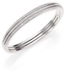 Adriana Orsini Pave Crystal Three-Row Bangle Bracelet/Silvertone