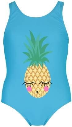 boohoo Girls Lazy Pineapple Scoop Swimsuit