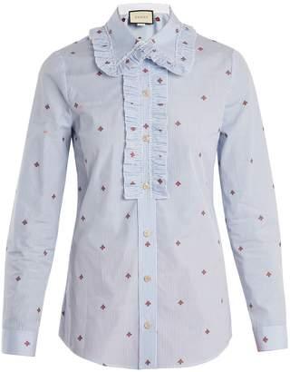Gucci Bee fil coupé striped cotton shirt