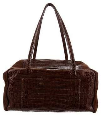 Nancy Gonzalez Crocodile Suede-Accented Bag