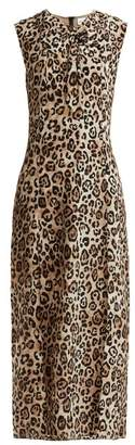 Raey Knot Front Leopard Print Silk Dress - Womens - Leopard