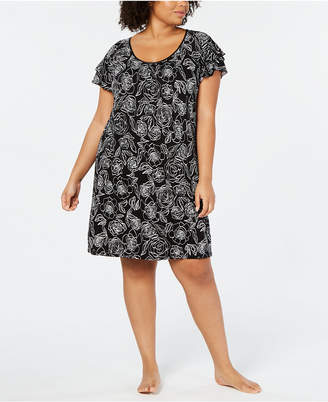 Charter Club Plus-Size Flutter-Sleeve Soft Knit Nightgown