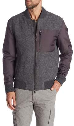 BOSS Chaun Contrast Virgin Wool Bomber Jacket