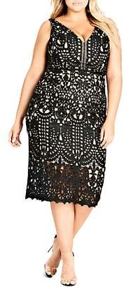 City Chic Plus Peekaboo Lace Sheath Dress