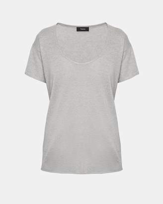 Theory Cashmere Double-Trim Scoop Neck Tee