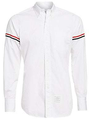 Thom Browne Men's Button-Down Two-Toned Armband Button-Down Shirt
