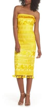 Tadashi Shoji Sol Strapless Lace Midi Dress