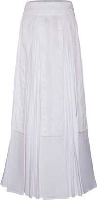 Rahul Mishra Chikankari Pleated Cotton Blend Maxi Skirt