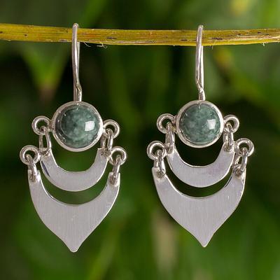 Fair Trade Sterling Silver Dark Green Jade Handmade Earrings, 'Two Moons'