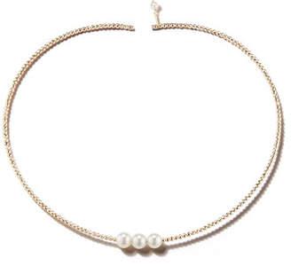 Mizuki 14k Gold Triple Pearl Choker Necklace