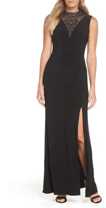 Adrianna Papell Beaded Illusion Neck Gown
