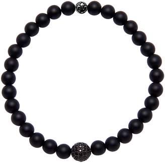 NIALAYA Pave Bead Matte Onyx Stretch Bracelet