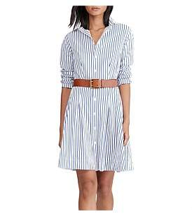 Polo Ralph Lauren Poplin Stripe Ls Charlotte Dress