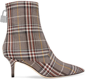 Monse Lock Plaid Canvas Ankle Boots - Brown