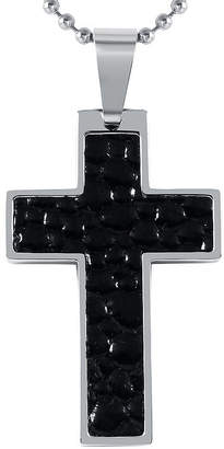 FINE JEWELRY Mens Leather Stainless Steel Cross Pendant