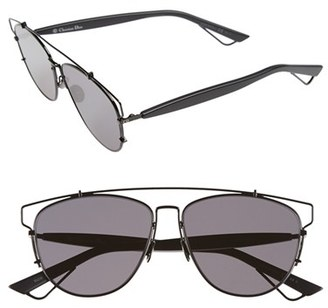 Women's Dior Technologic 57Mm Brow Bar Sunglasses - Black